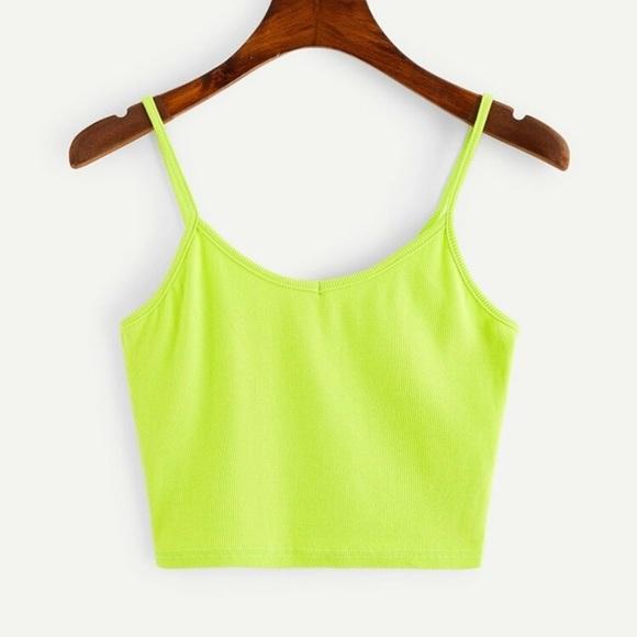 Shein Neon Green Cropped Tank Top